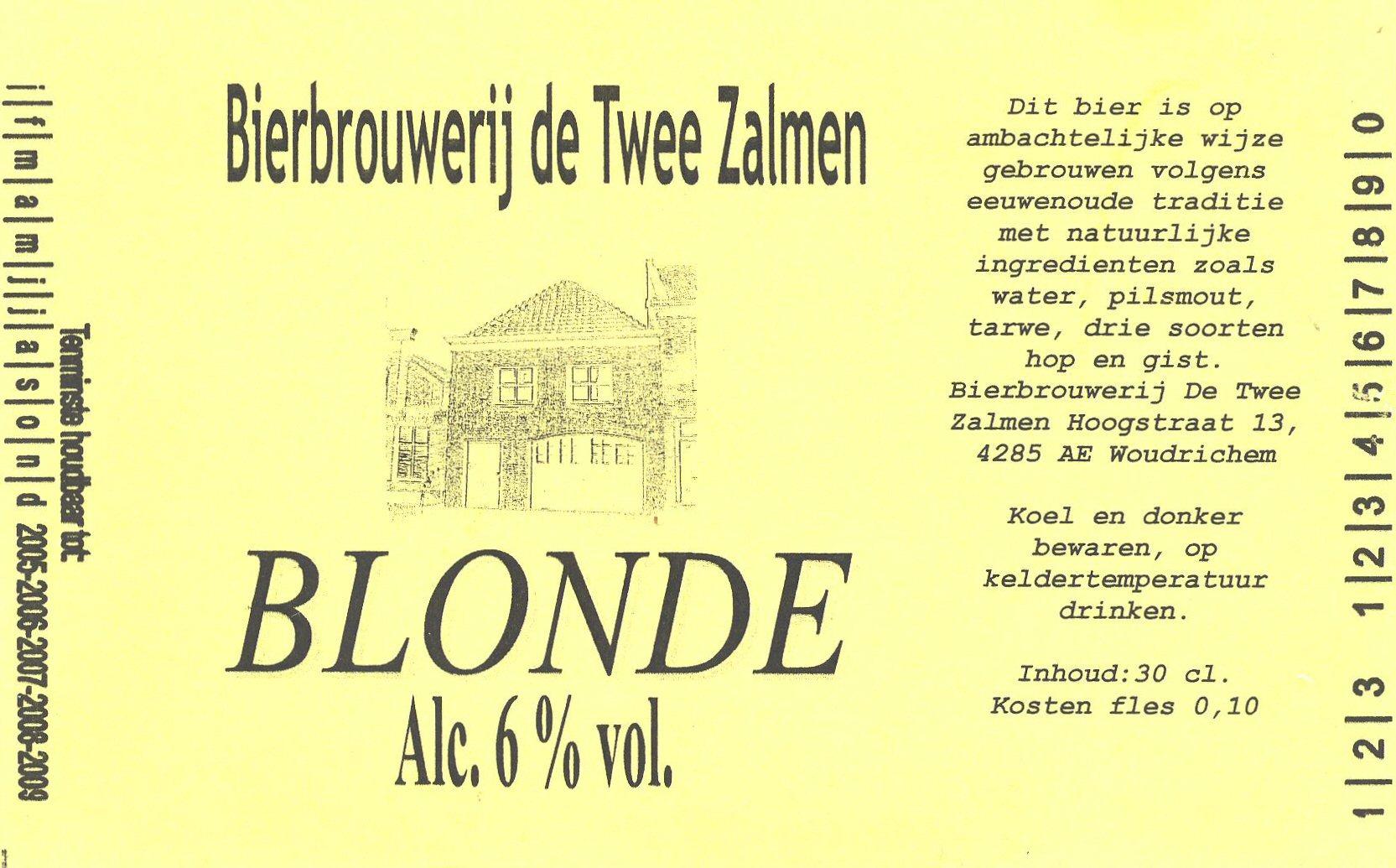ETIK-007 Bierbrouwerij de Twee Zalmen BLONDE