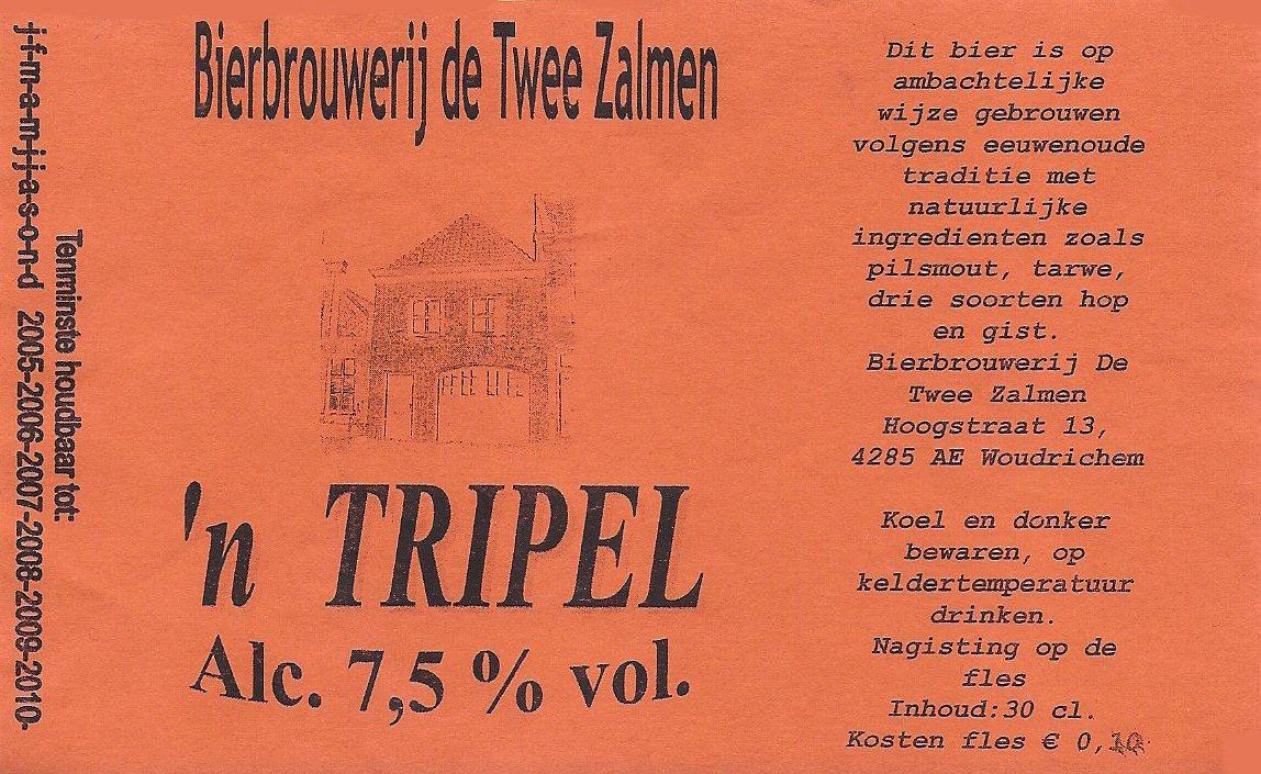 ETIK-012 Bierbrouwerij de Twee Zalmen n Tripel