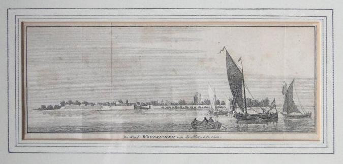 Gravure 11 De Stad Woudrichem van de Merwe te zien