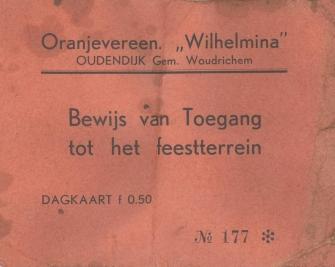Oranjevereen Wilhelmina - bewijs van toegang